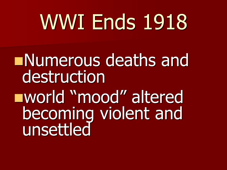 Government during WWI gained more control gained more control strict laws used against Americans strict laws used against Americans mood of fear and suspicion mood of fear and suspicion