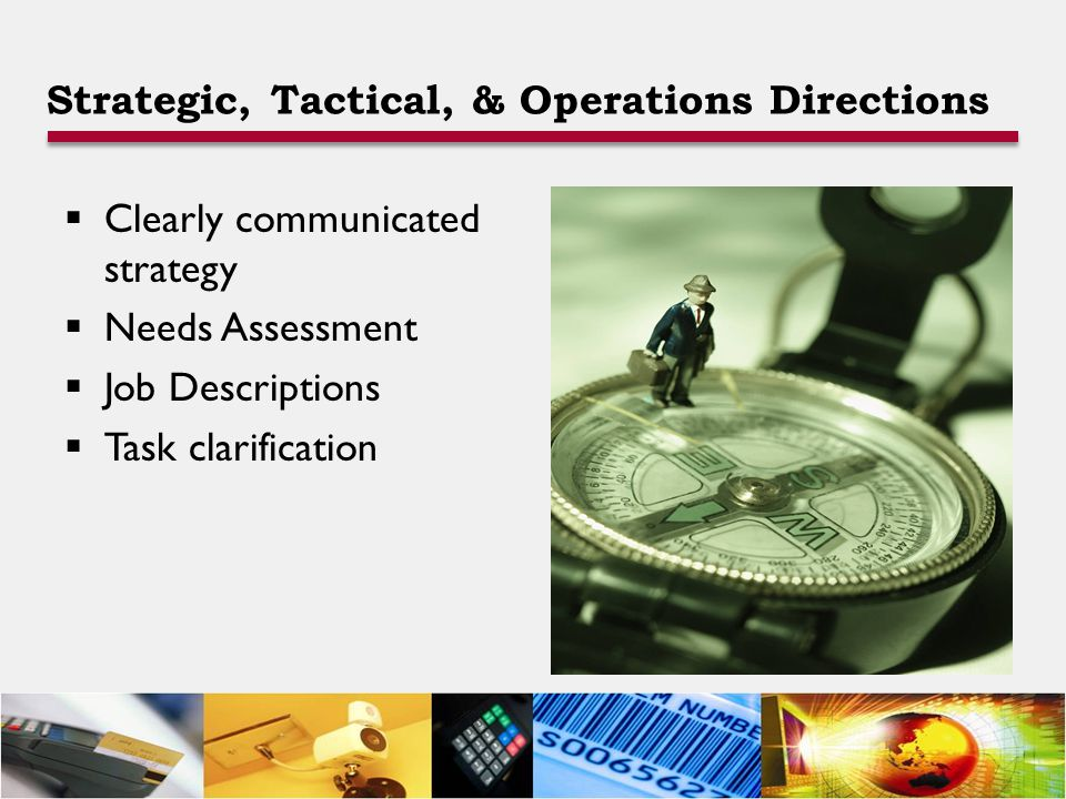 Strategic, Tactical, & Operations Directions  Clearly communicated strategy  Needs Assessment  Job Descriptions  Task clarification
