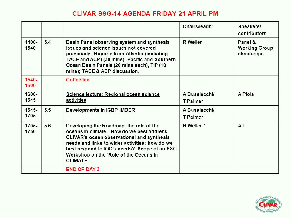 CLIVAR SSG-14 AGENDA FRIDAY 21 APRIL PM Chairs/leads*Speakers/ contributors 1400- 1540 5.4Basin Panel observing system and synthesis issues and scienc