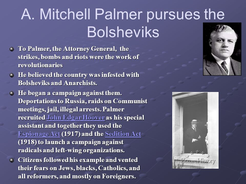 A. Mitchell Palmer pursues the Bolsheviks To Palmer, the Attorney General, the strikes, bombs and riots were the work of revolutionaries He believed t