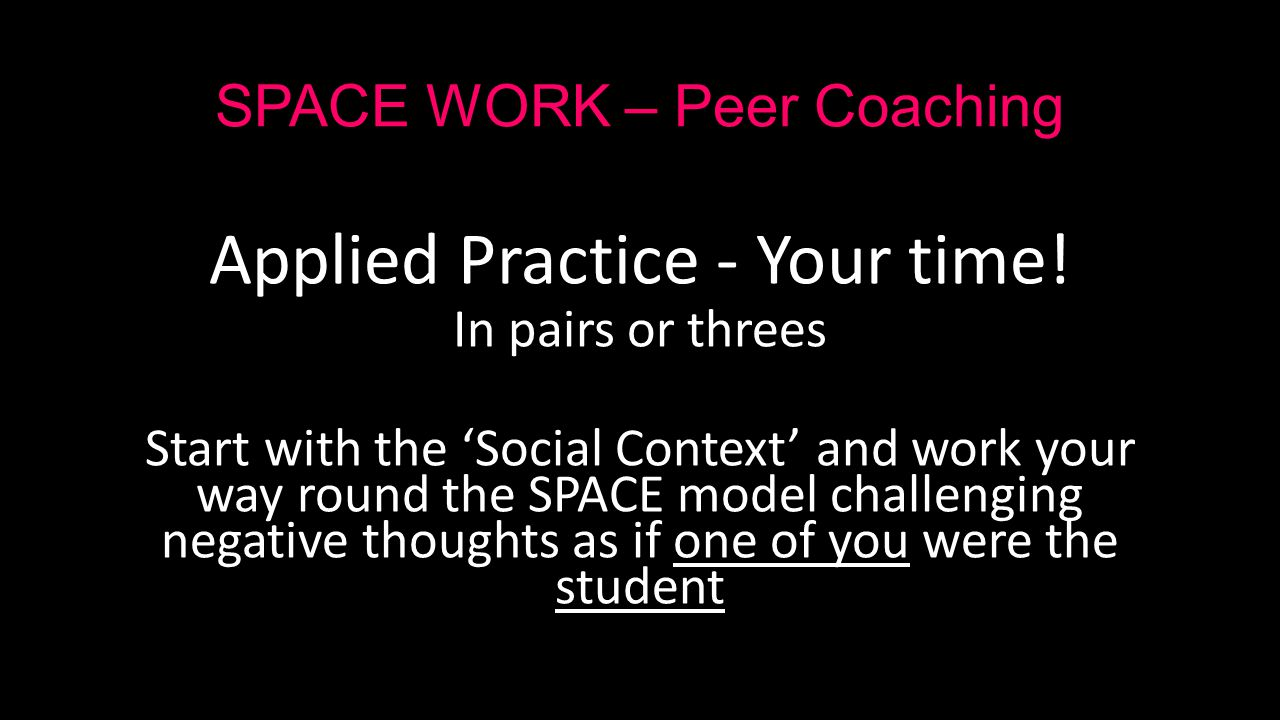 SPACE WORK – Peer Coaching Applied Practice - Your time.