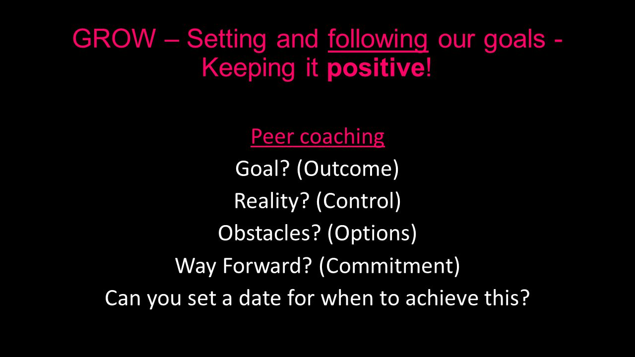 GROW – Setting and following our goals - Keeping it positive.