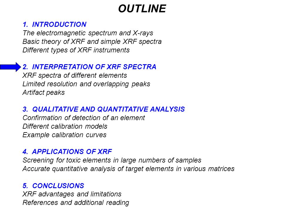 OUTLINE 1. INTRODUCTION The electromagnetic spectrum and X-rays Basic theory of XRF and simple XRF spectra Different types of XRF instruments 2. INTER
