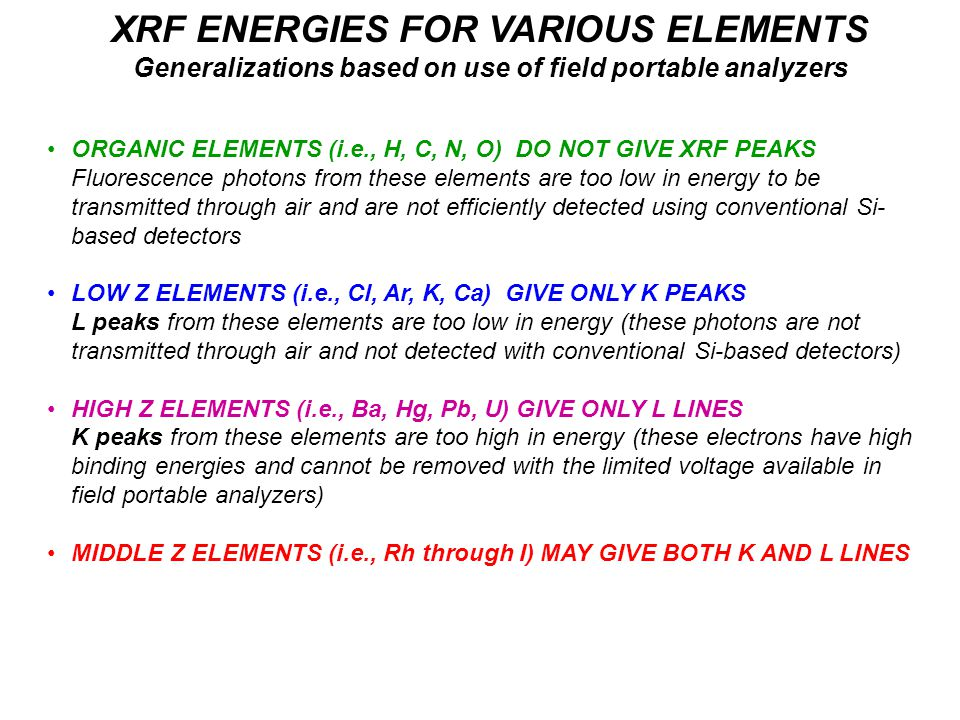XRF ENERGIES FOR VARIOUS ELEMENTS Generalizations based on use of field portable analyzers ORGANIC ELEMENTS (i.e., H, C, N, O) DO NOT GIVE XRF PEAKS Fluorescence photons from these elements are too low in energy to be transmitted through air and are not efficiently detected using conventional Si- based detectors LOW Z ELEMENTS (i.e., Cl, Ar, K, Ca) GIVE ONLY K PEAKS L peaks from these elements are too low in energy (these photons are not transmitted through air and not detected with conventional Si-based detectors) HIGH Z ELEMENTS (i.e., Ba, Hg, Pb, U) GIVE ONLY L LINES K peaks from these elements are too high in energy (these electrons have high binding energies and cannot be removed with the limited voltage available in field portable analyzers) MIDDLE Z ELEMENTS (i.e., Rh through I) MAY GIVE BOTH K AND L LINES