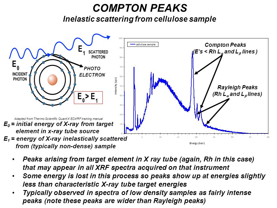 Adapted from Thermo Scientific Quant'X EDXRF training manual COMPTON PEAKS Inelastic scattering from cellulose sample Peaks arising from target elemen
