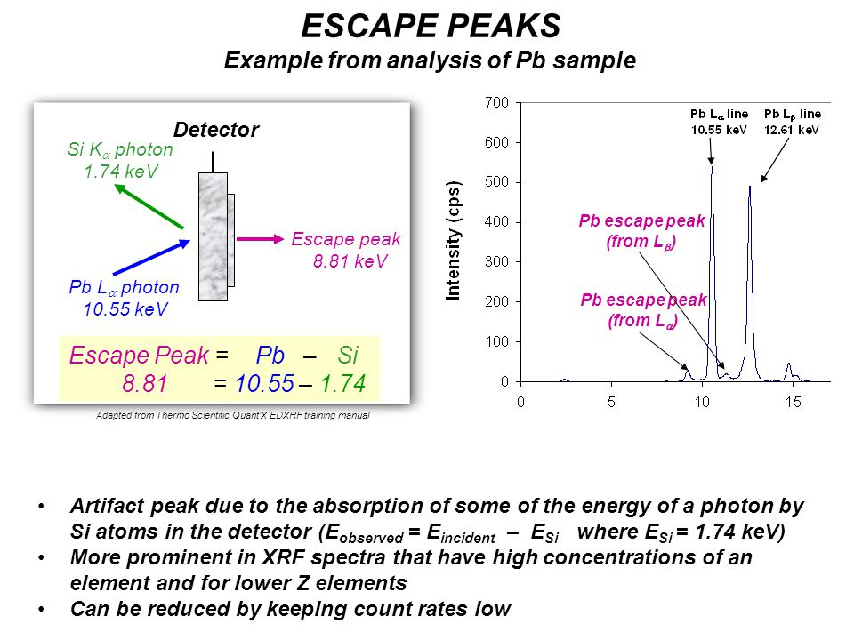 Pb L  photon 10.55 keV Escape peak 8.81 keV Si K  photon 1.74 keV Escape Peak = Pb – Si 8.81 = 10.55 – 1.74 ESCAPE PEAKS Example from analysis of Pb sample Artifact peak due to the absorption of some of the energy of a photon by Si atoms in the detector (E observed = E incident – E Si where E Si = 1.74 keV) More prominent in XRF spectra that have high concentrations of an element and for lower Z elements Can be reduced by keeping count rates low Adapted from Thermo Scientific Quant'X EDXRF training manual Pb escape peak (from L  ) Detector Pb escape peak (from L  )