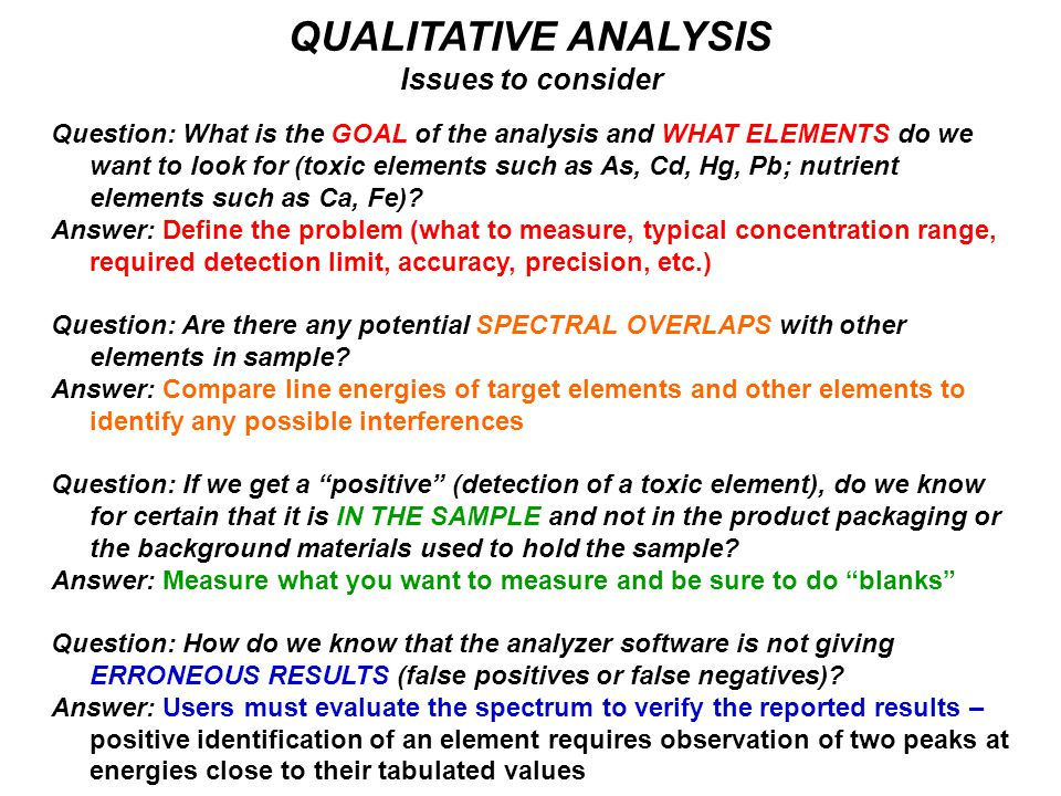 QUALITATIVE ANALYSIS Issues to consider Question: What is the GOAL of the analysis and WHAT ELEMENTS do we want to look for (toxic elements such as As