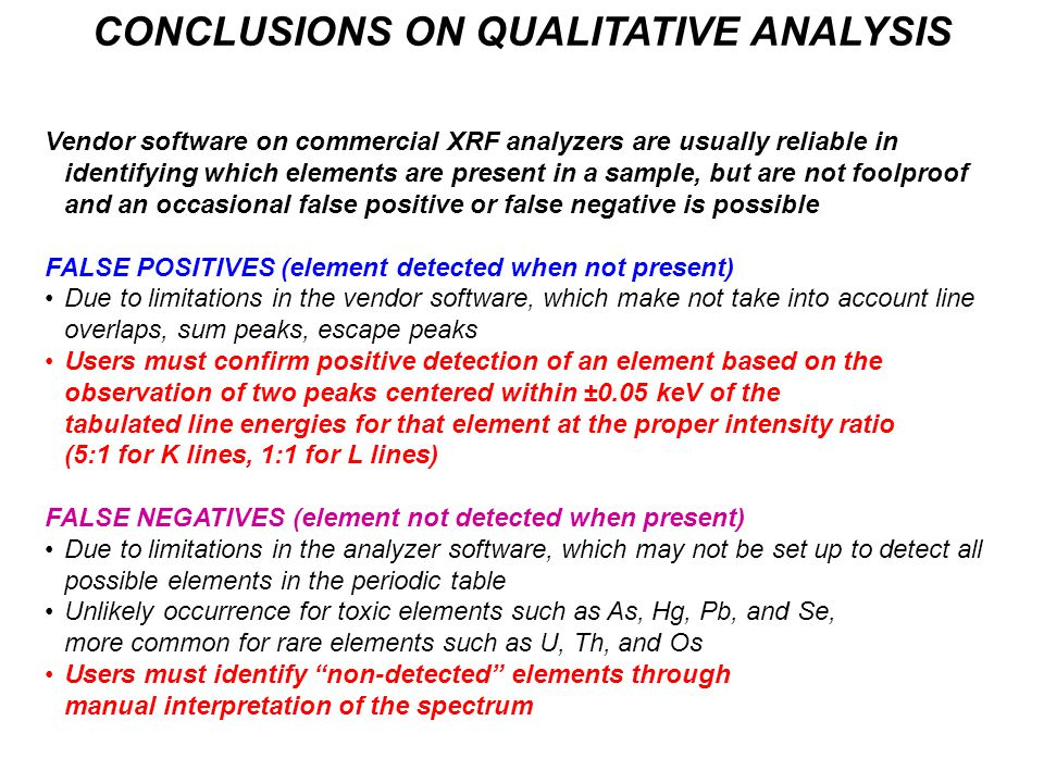 CONCLUSIONS ON QUALITATIVE ANALYSIS Vendor software on commercial XRF analyzers are usually reliable in identifying which elements are present in a sa