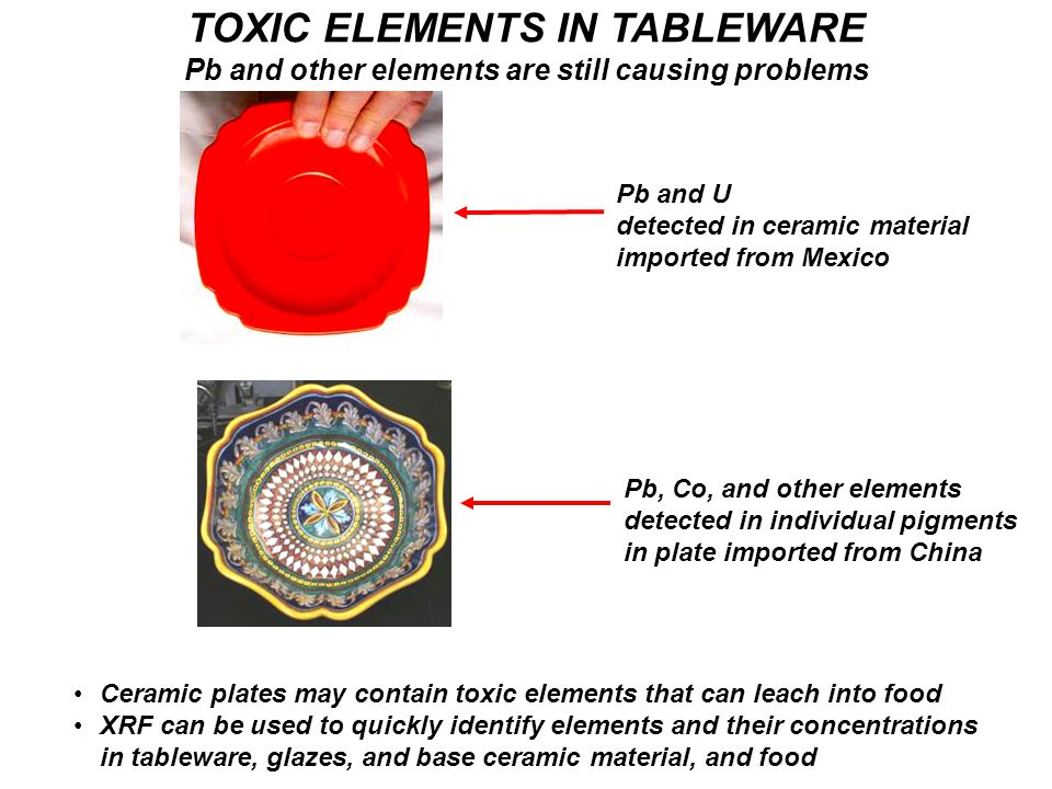 TOXIC ELEMENTS IN TABLEWARE Pb and other elements are still causing problems Ceramic plates may contain toxic elements that can leach into food XRF can be used to quickly identify elements and their concentrations in tableware, glazes, and base ceramic material, and food Pb and U detected in ceramic material imported from Mexico Pb, Co, and other elements detected in individual pigments in plate imported from China