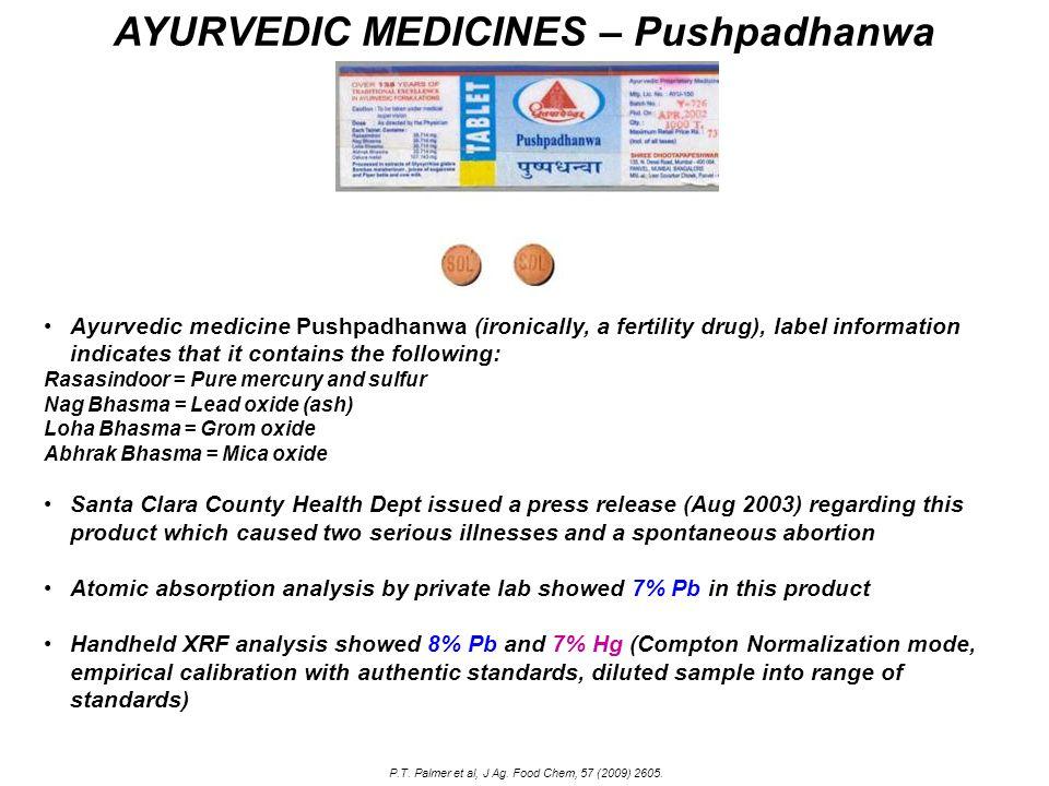 AYURVEDIC MEDICINES – Pushpadhanwa Ayurvedic medicine Pushpadhanwa (ironically, a fertility drug), label information indicates that it contains the fo