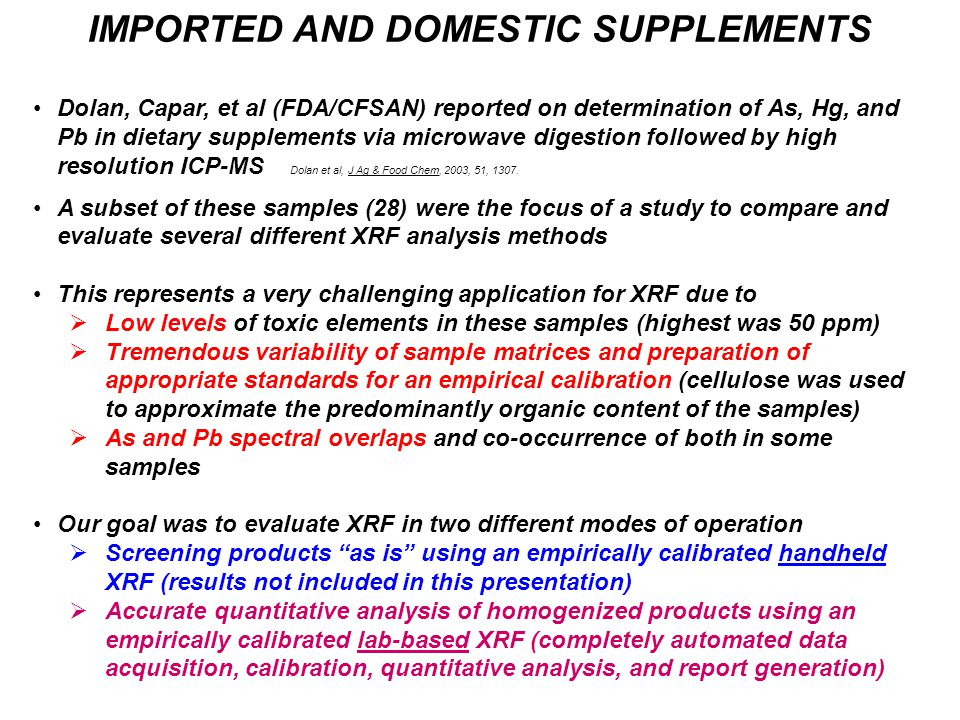 IMPORTED AND DOMESTIC SUPPLEMENTS Dolan, Capar, et al (FDA/CFSAN) reported on determination of As, Hg, and Pb in dietary supplements via microwave dig