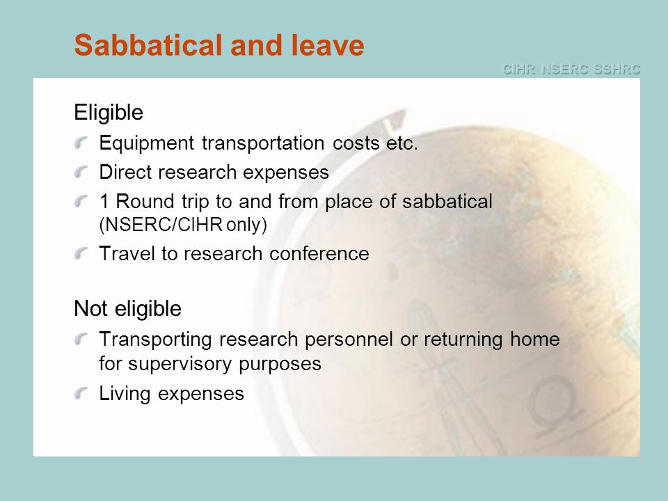 Sabbatical and leave Eligible Equipment transportation costs etc.
