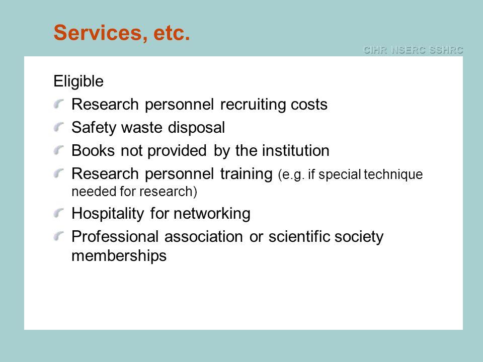 Services, etc.