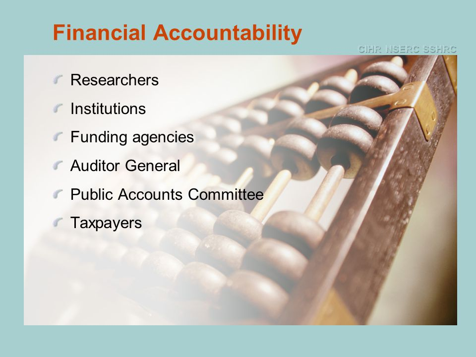 Financial Accountability Researchers Institutions Funding agencies Auditor General Public Accounts Committee Taxpayers