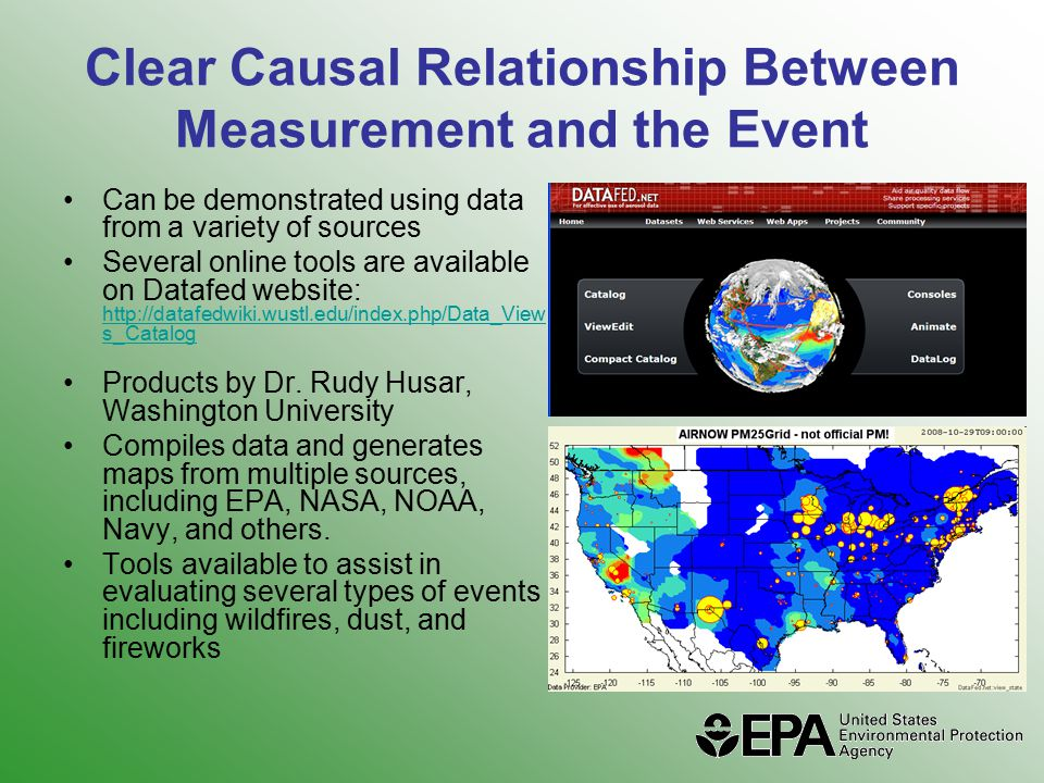 Clear Causal Relationship Between Measurement and the Event Can be demonstrated using data from a variety of sources Several online tools are available on Datafed website: http://datafedwiki.wustl.edu/index.php/Data_View s_Catalog http://datafedwiki.wustl.edu/index.php/Data_View s_Catalog Products by Dr.