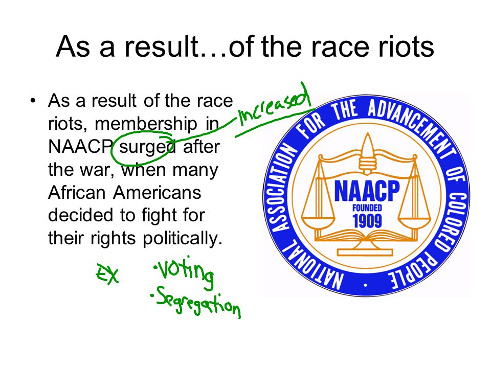 As a result…of the race riots As a result of the race riots, membership in NAACP surged after the war, when many African Americans decided to fight fo