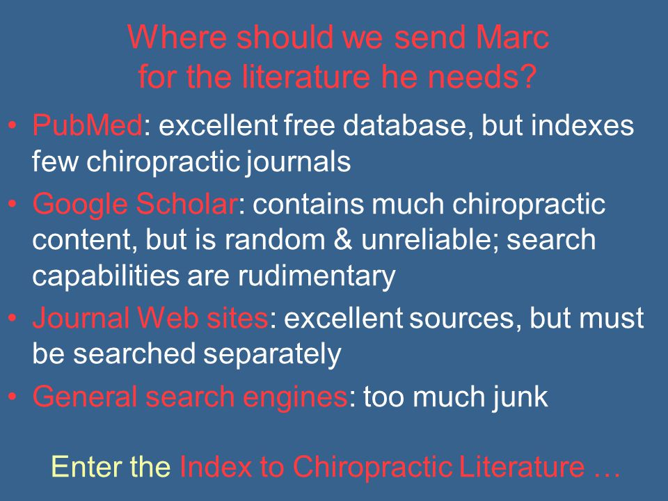 Where should we send Marc for the literature he needs.