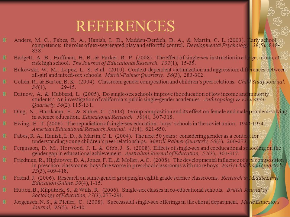 REFERENCES Anders, M. C., Fabes, R. A., Hanish, L.