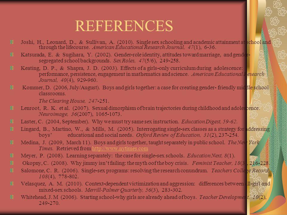 REFERENCES Joshi, H., Leonard, D., & Sullivan, A. (2010).