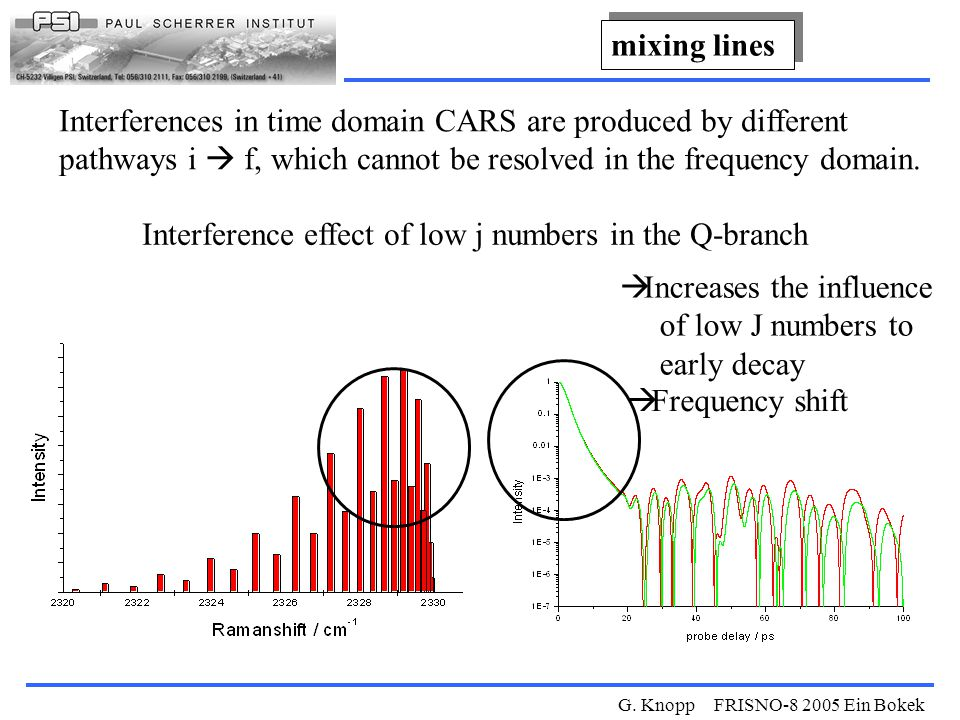 G. Knopp FRISNO-8 2005 Ein Bokek Interferences in time domain CARS are produced by different pathways i  f, which cannot be resolved in the frequency