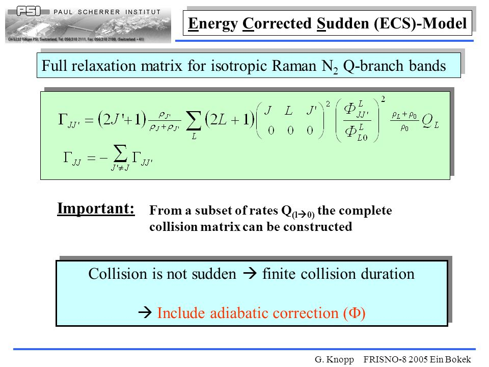G. Knopp FRISNO-8 2005 Ein Bokek Collision is not sudden  finite collision duration  Include adiabatic correction (  ) Collision is not sudden  fi
