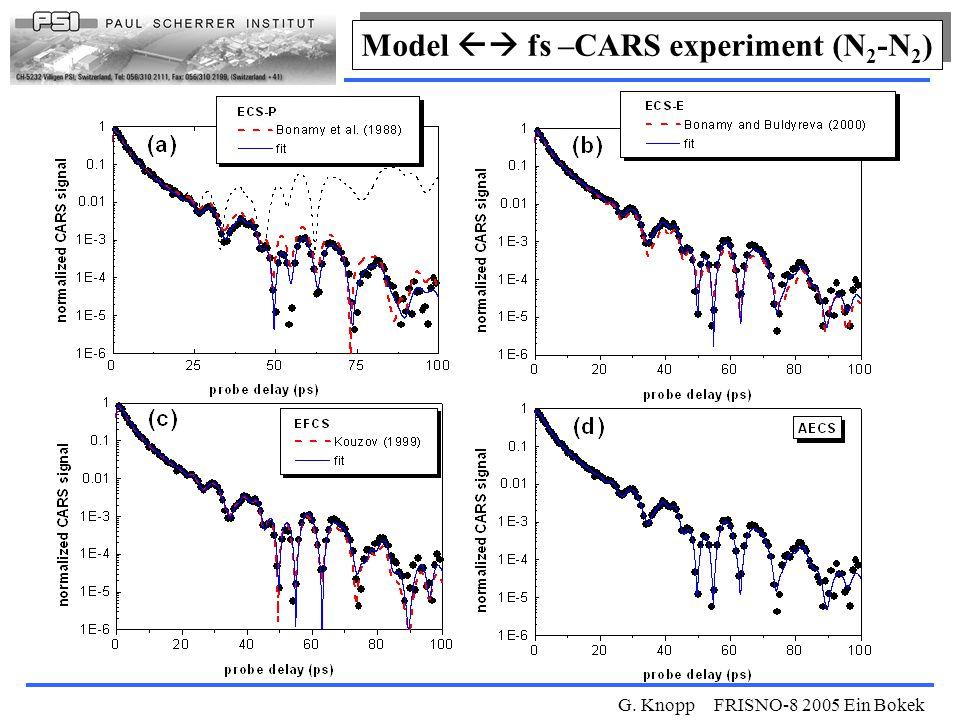 G. Knopp FRISNO-8 2005 Ein Bokek Model  fs –CARS experiment (N 2 -N 2 )