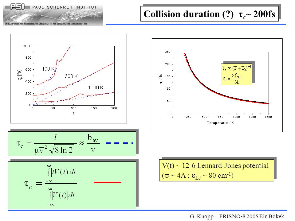 G. Knopp FRISNO-8 2005 Ein Bokek V(t) ~ 12-6 Lennard-Jones potential (   ~ 4Å ;  LJ  ~ 80 cm -1 ) V(t) ~ 12-6 Lennard-Jones potential (   ~ 4Å ;