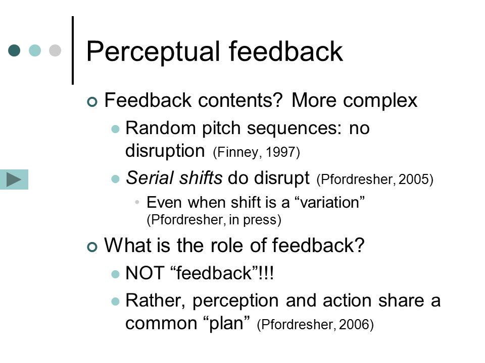 Perceptual feedback Feedback contents.