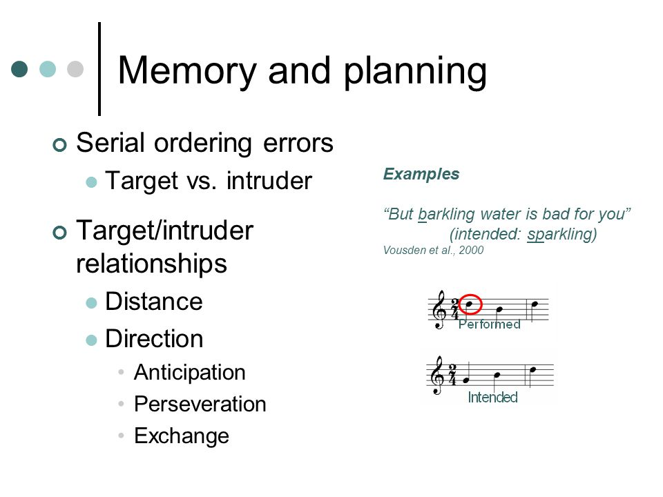 Memory and planning Serial ordering errors Target vs.