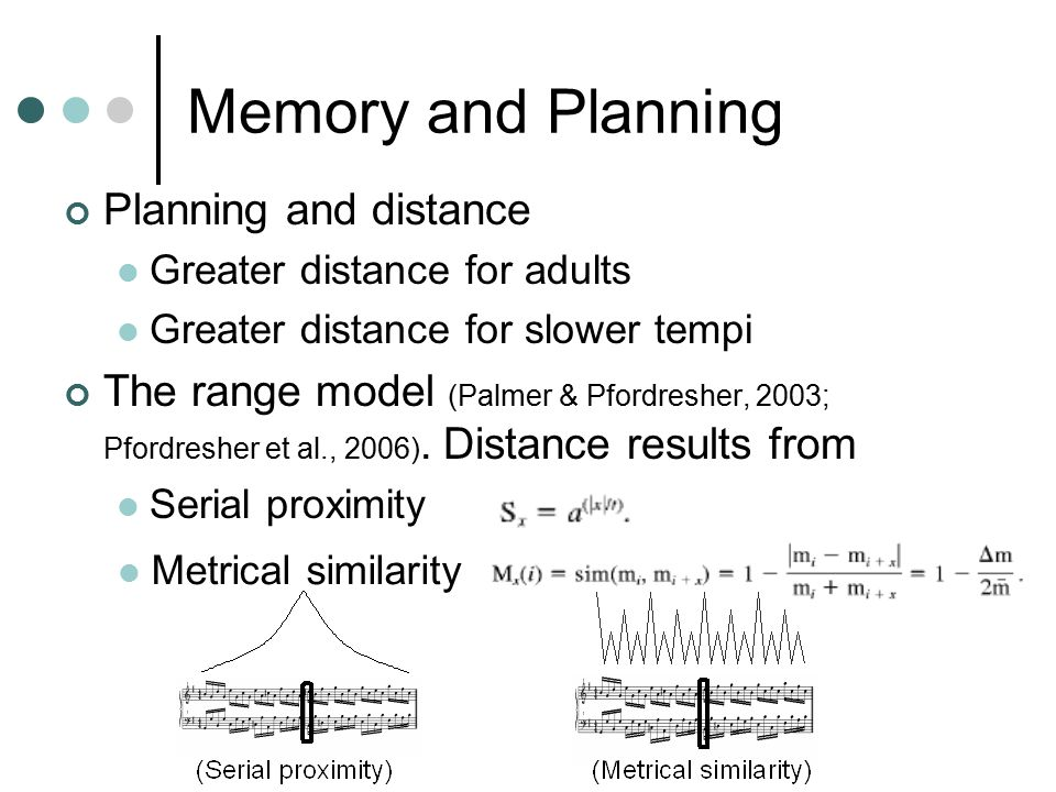 Memory and Planning Planning and distance Greater distance for adults Greater distance for slower tempi The range model (Palmer & Pfordresher, 2003; Pfordresher et al., 2006).