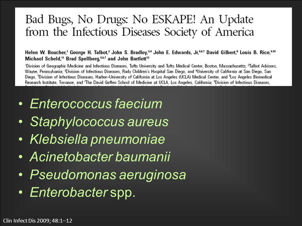 Enterococcus faecium Staphylococcus aureus Klebsiella pneumoniae Acinetobacter baumanii Pseudomonas aeruginosa Enterobacter spp.