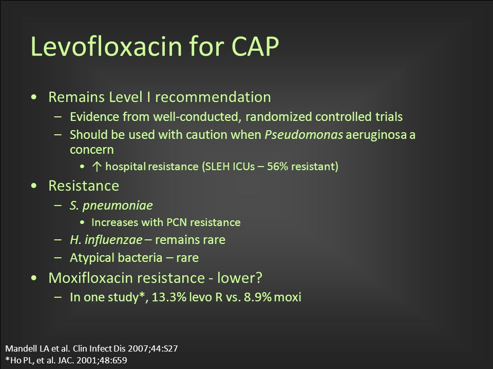 Levofloxacin for CAP Remains Level I recommendation –Evidence from well-conducted, randomized controlled trials –Should be used with caution when Pseudomonas aeruginosa a concern ↑ hospital resistance (SLEH ICUs – 56% resistant) Resistance –S.