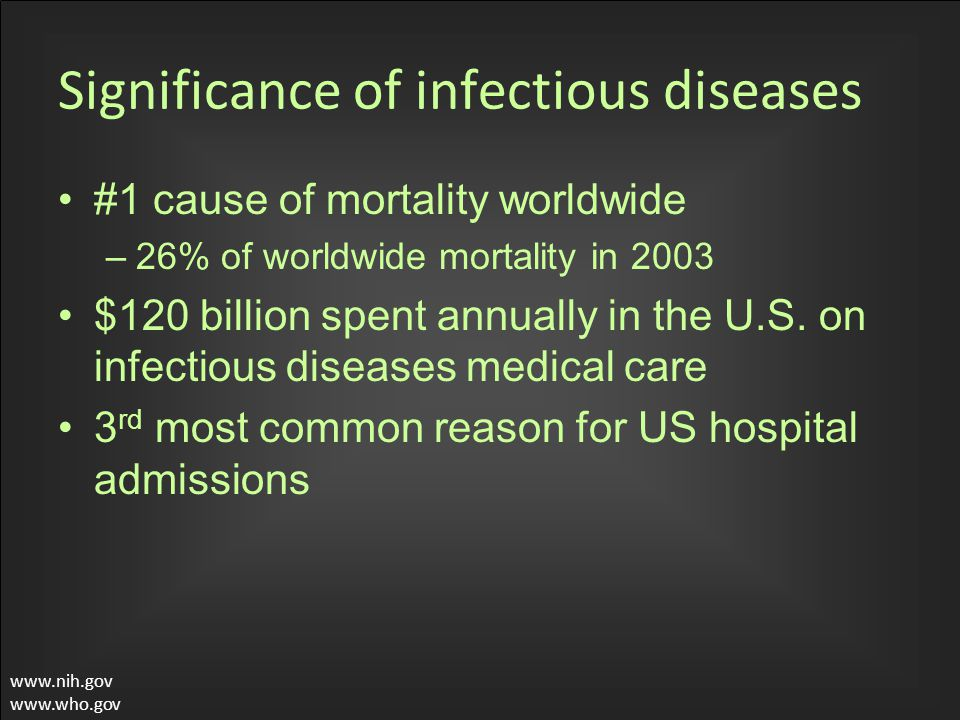 Significance of infectious diseases #1 cause of mortality worldwide –26% of worldwide mortality in 2003 $120 billion spent annually in the U.S.