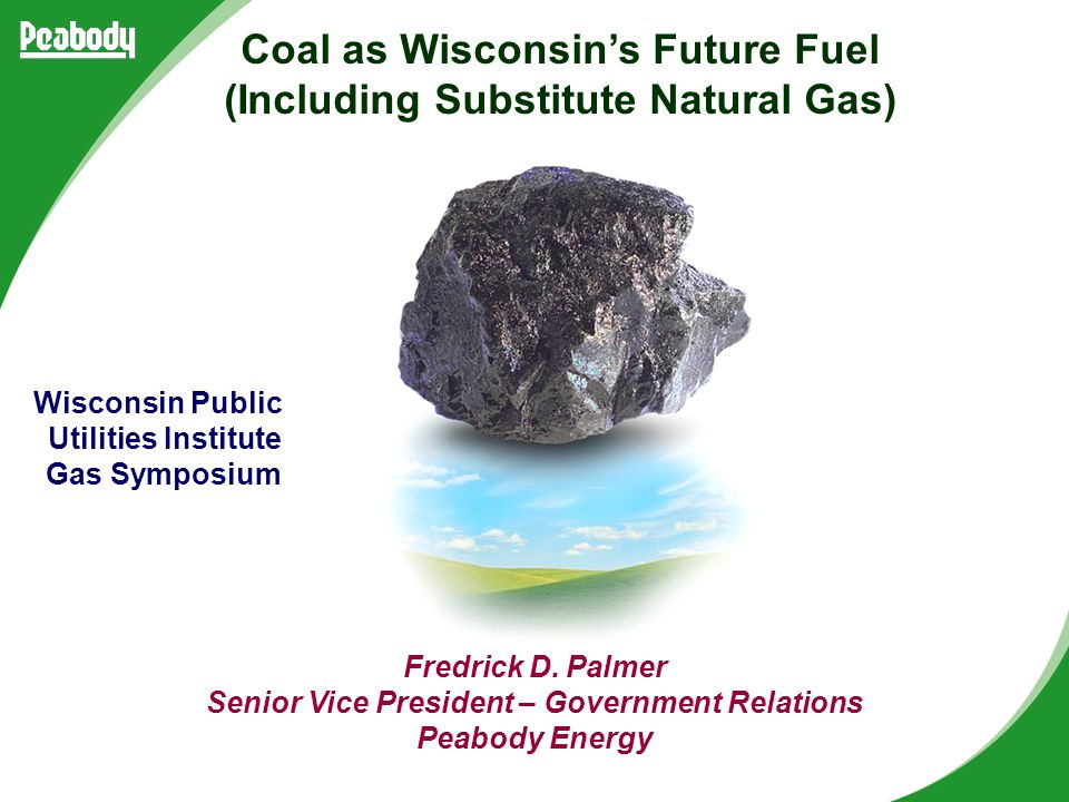 Fredrick D. Palmer Senior Vice President – Government Relations Peabody Energy Wisconsin Public Utilities Institute Gas Symposium Coal as Wisconsin's