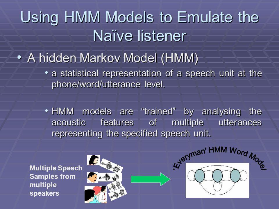 Using HMM Models to Emulate the Naïve listener A hidden Markov Model (HMM) A hidden Markov Model (HMM) a statistical representation of a speech unit a