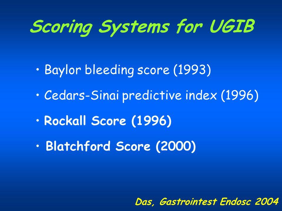 Scoring Systems for UGIB Baylor bleeding score (1993) Cedars-Sinai predictive index (1996) Rockall Score (1996) Blatchford Score (2000) Das, Gastroint