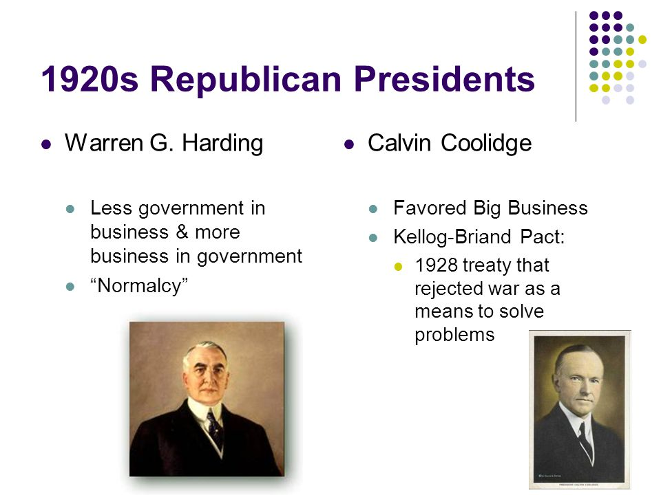 1920s Republican Presidents Warren G.