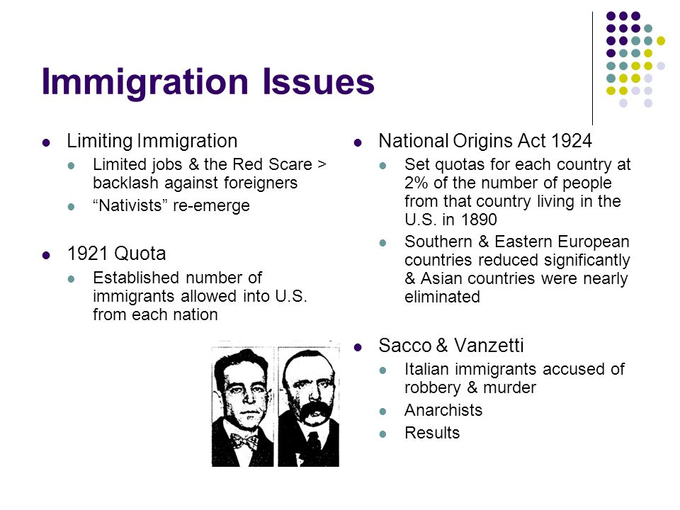 Immigration Issues Limiting Immigration Limited jobs & the Red Scare > backlash against foreigners Nativists re-emerge 1921 Quota Established number of immigrants allowed into U.S.
