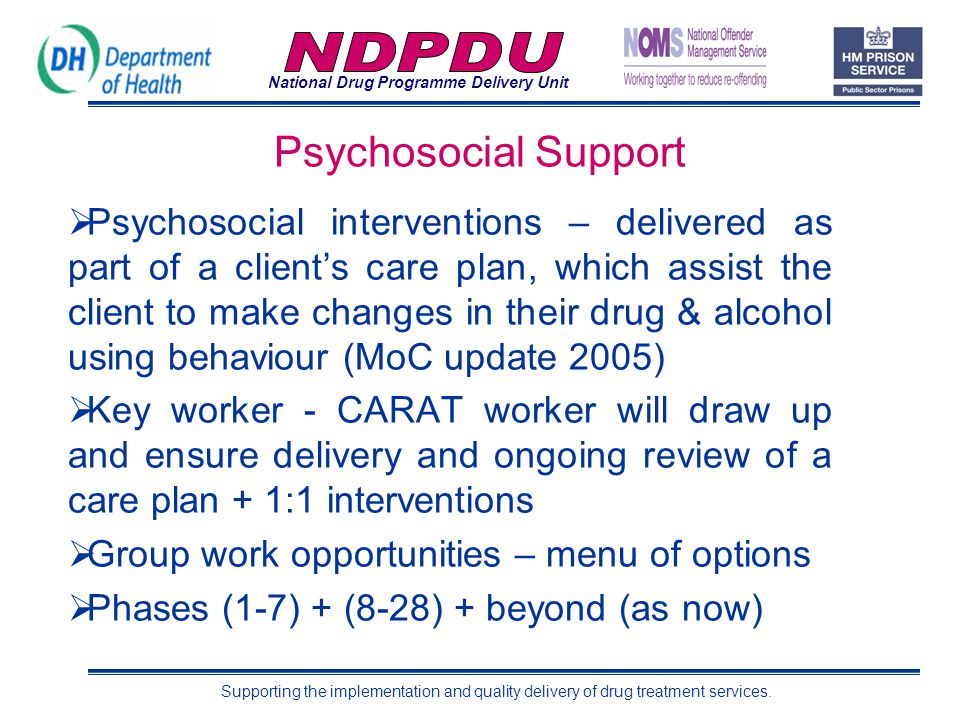 National Drug Programme Delivery Unit Supporting the implementation and quality delivery of drug treatment services. Psychosocial Support  Psychosoci