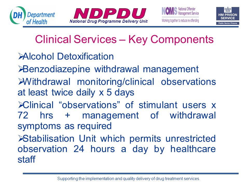 National Drug Programme Delivery Unit Supporting the implementation and quality delivery of drug treatment services. Clinical Services – Key Component