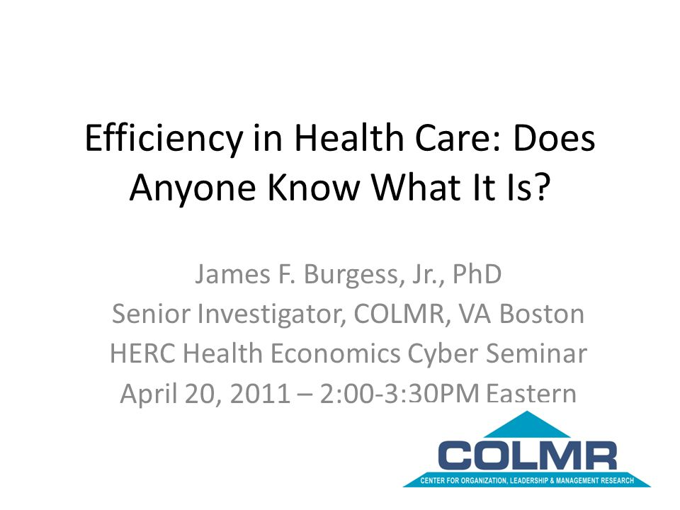 Efficiency in Health Care: Does Anyone Know What It Is? James F. Burgess, Jr., PhD Senior Investigator, COLMR, VA Boston HERC Health Economics Cyber S