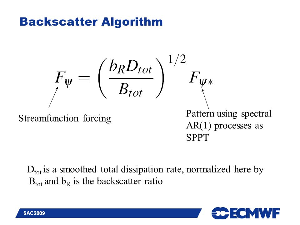 Slide 21 SAC2009 Backscatter Algorithm Streamfunction forcing Pattern using spectral AR(1) processes as SPPT D tot is a smoothed total dissipation rat