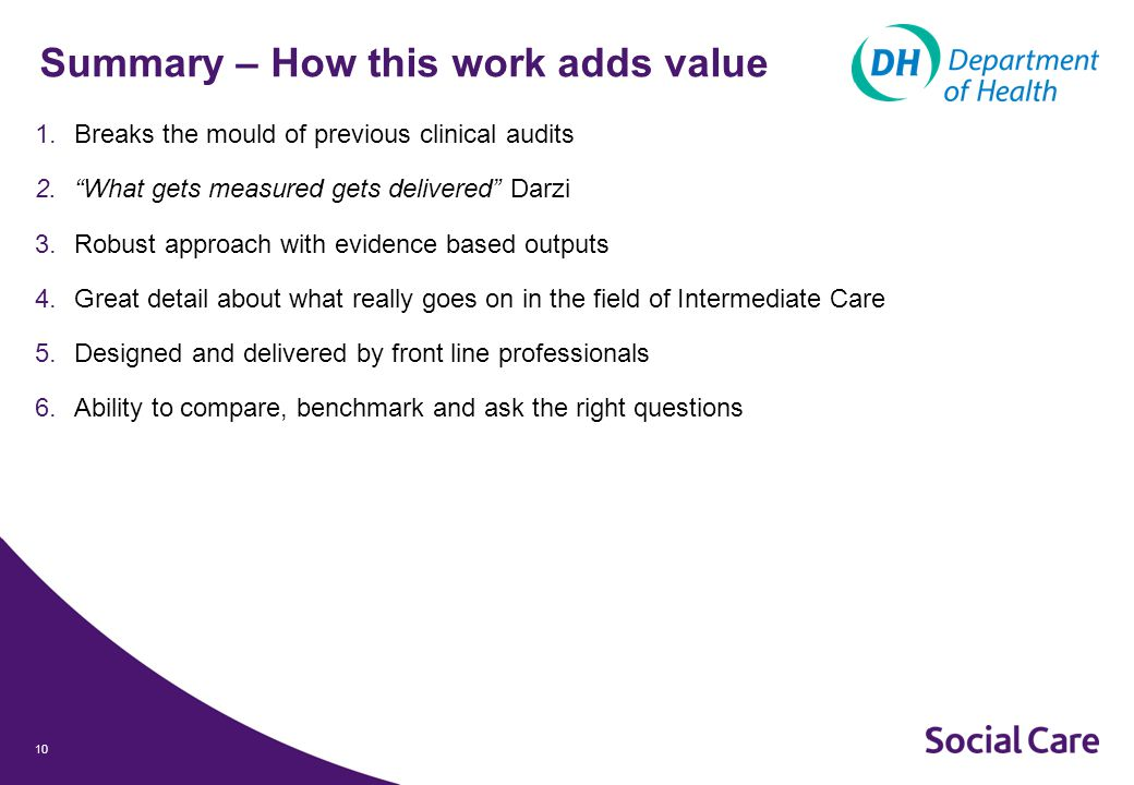10 Summary – How this work adds value 1.Breaks the mould of previous clinical audits 2. What gets measured gets delivered Darzi 3.Robust approach with evidence based outputs 4.Great detail about what really goes on in the field of Intermediate Care 5.Designed and delivered by front line professionals 6.Ability to compare, benchmark and ask the right questions