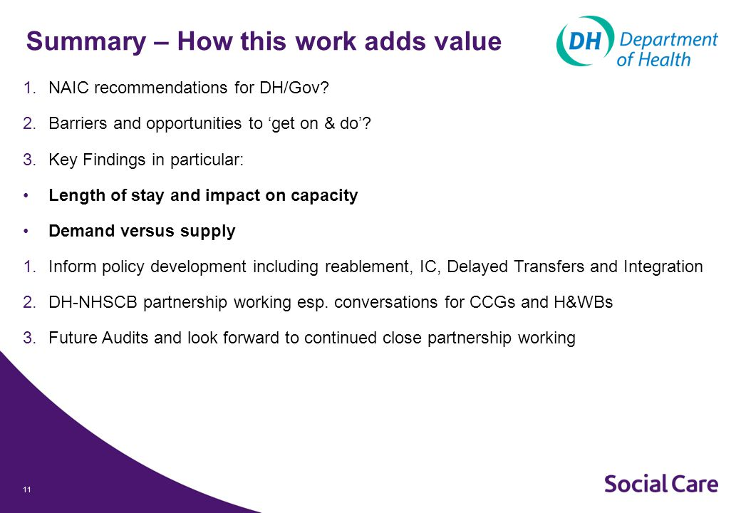 11 Summary – How this work adds value 1.NAIC recommendations for DH/Gov.