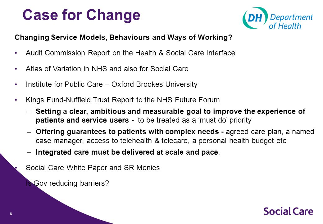 6 Case for Change Changing Service Models, Behaviours and Ways of Working.