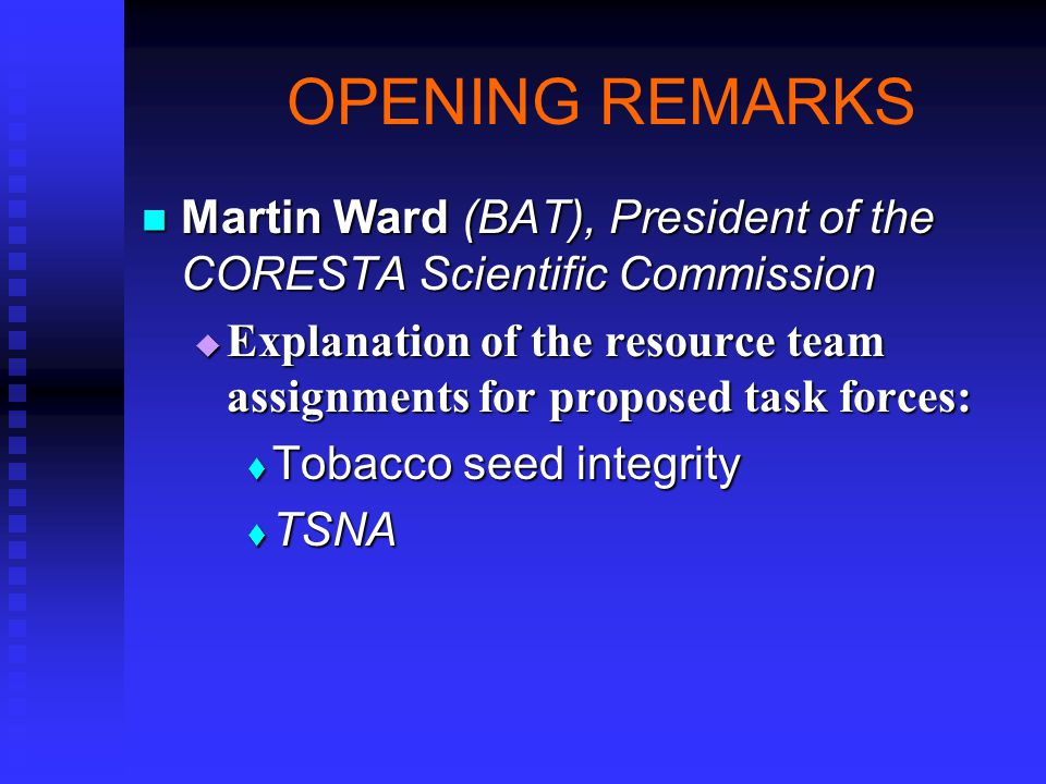 Assignment Lowell Bush Lowell Bush   Determine standards being used in different countries and types of tobacco   Determine protocol used for nornicotine determination in seed producing plants
