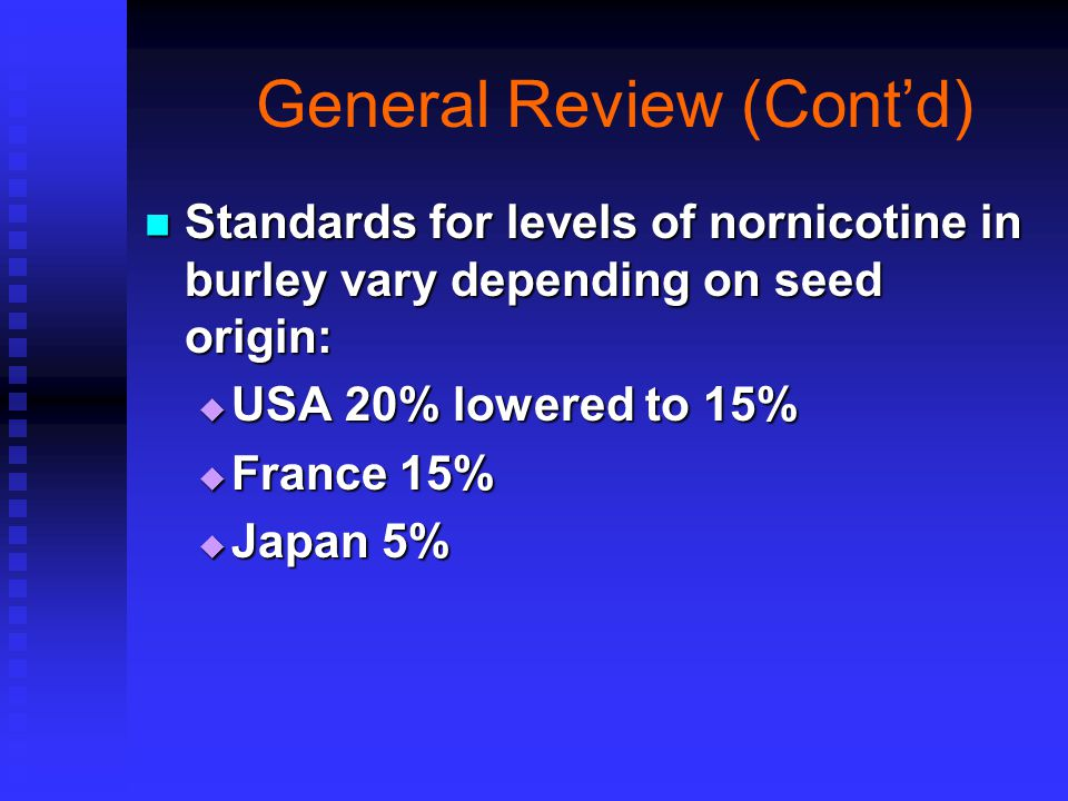 General Review (Cont'd) Standards for levels of nornicotine in burley vary depending on seed origin: Standards for levels of nornicotine in burley vary depending on seed origin:  USA 20% lowered to 15%  France 15%  Japan 5%