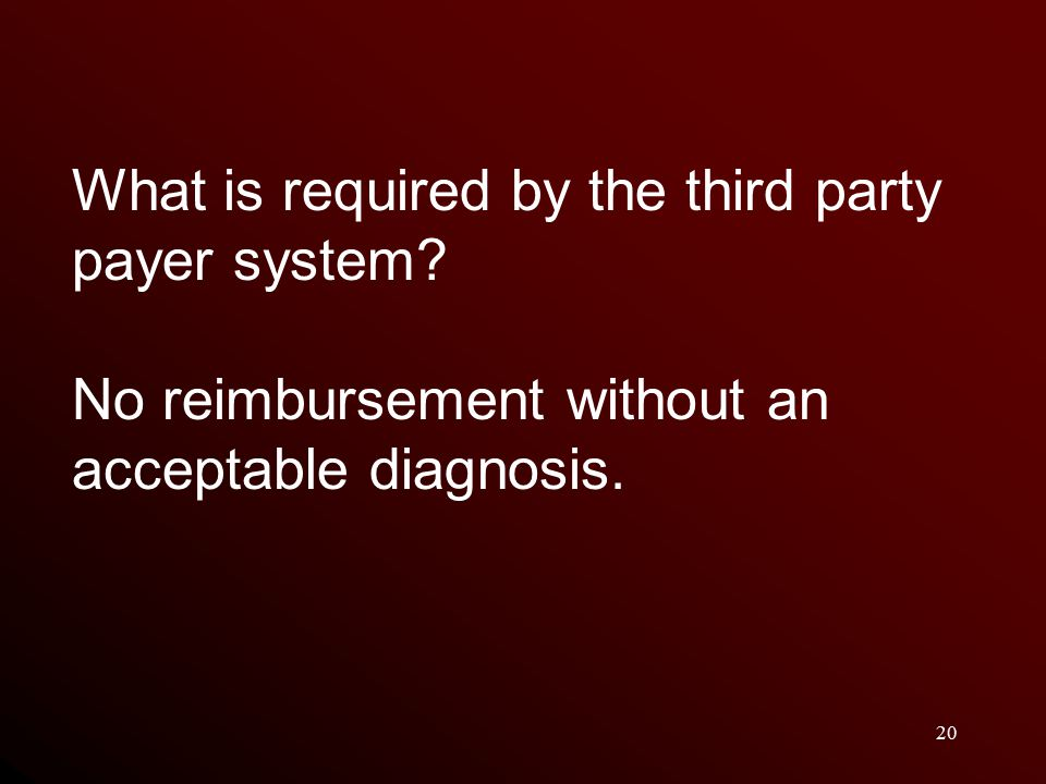 20 What is required by the third party payer system.