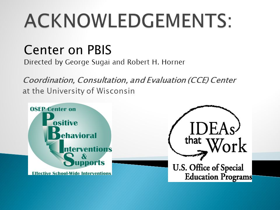 Coordination, Consultation, and Evaluation (CCE) Center at the University of Wisconsin Center on PBIS Directed by George Sugai and Robert H.
