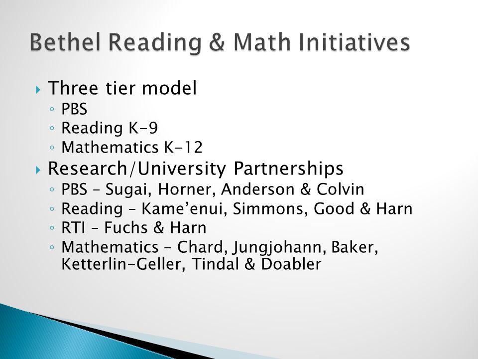  Three tier model ◦ PBS ◦ Reading K-9 ◦ Mathematics K-12  Research/University Partnerships ◦ PBS – Sugai, Horner, Anderson & Colvin ◦ Reading – Kame